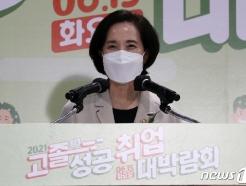 [사진] 고졸성공취업대박람회 축사하는 유은혜 부총리