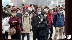 마스크 착용하고 한옥마을 찾은 중국인 단체 관광객
