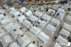 난민캠프 소독하는 시리아 환경 미화원들