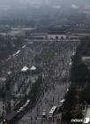 대규모 집회 뒤 행진하는 보수단체