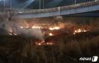 부산 화명생태공원 갈대밭 밤새 3차례 불…200평 태워