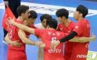득점 기쁨 함께 나누는 한국전력 선수들