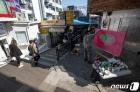이태원 거리에서 그려지는 예술작품