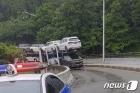 신차 배송 차량 나뭇가지에 걸려…40분간 일부 도로 통제